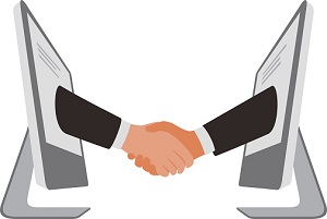 handshake from computer, business partnership