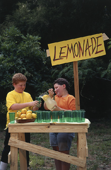 Two kids at a lemonade stand.