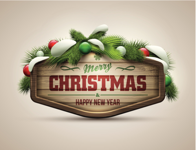 """Laurel wreathed sign that reads """"Merry Christmas!"""""""