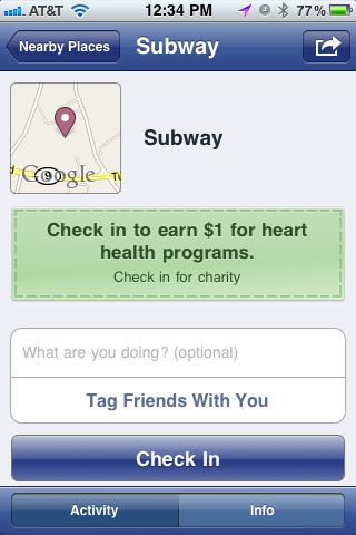 Example of checking in on Facebook Places.