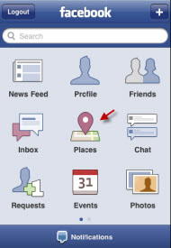 Mobile version of Facebook Places.