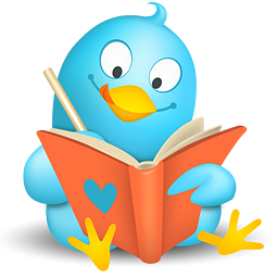 Twitter bird writing in a folder.