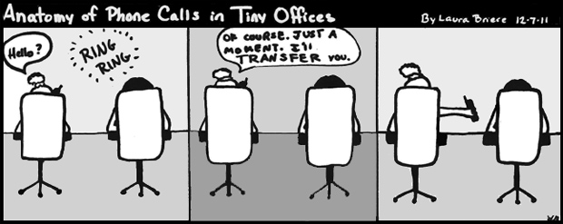 Comic strip about live in a small office.