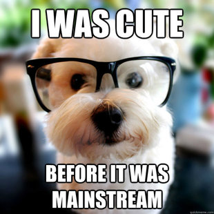 "Meme of a hipster dog with caption ""I Was Cute Before It Was Mainstream""."