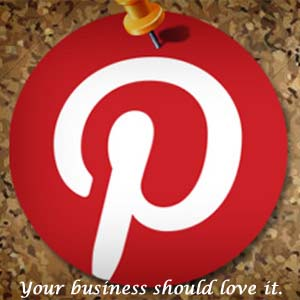 Pinterest logo pinned to a cork board.
