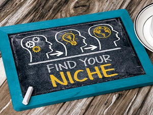 "Trendy chalkboard with ""Find Your Niche"" written on it."