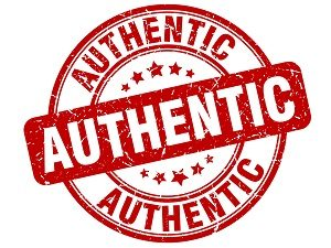 Stamp containing the word authentic several times.