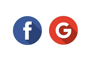Logos for both Facebook and Google