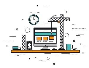 Drawing of a website being constructed with cranes and scaffolding.