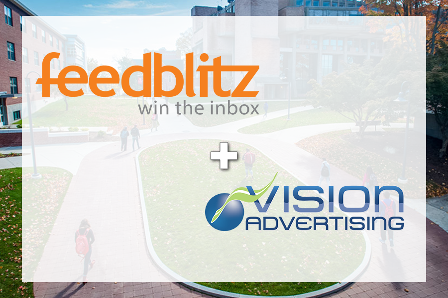 FeedBlitz and Vision logos on Clark University backdrop.