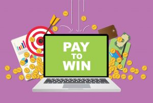 Pay to Win on Laptop surrounded by money and analytics.