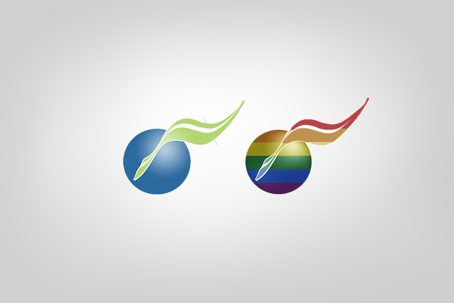Two versions of the Vision Advertising, one normal and one in rainbow, side by side.