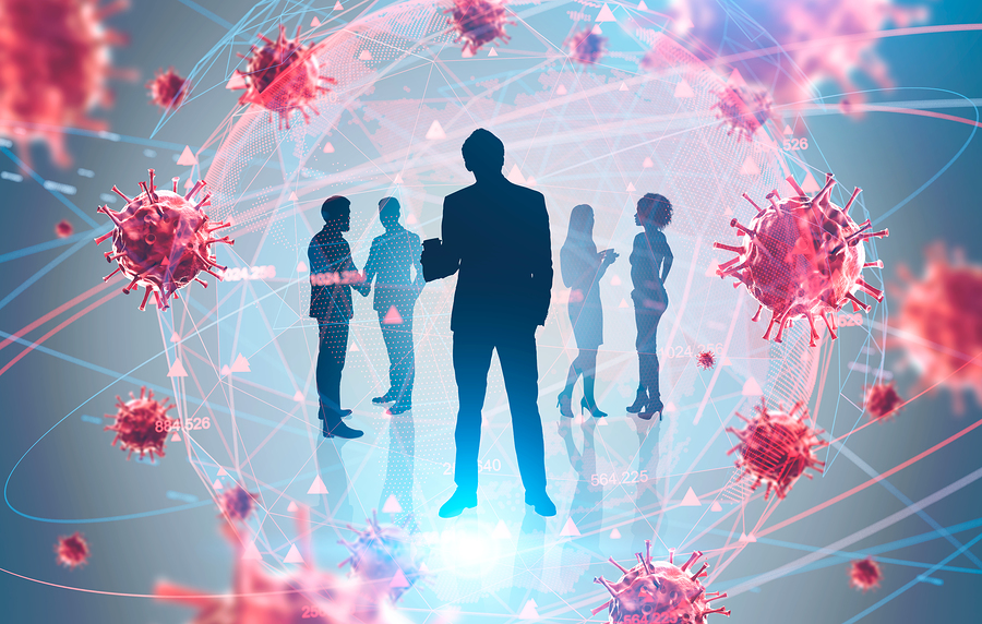 Silhouettes of business people in a bubble surrounded by the coronavirus (COVID-19).