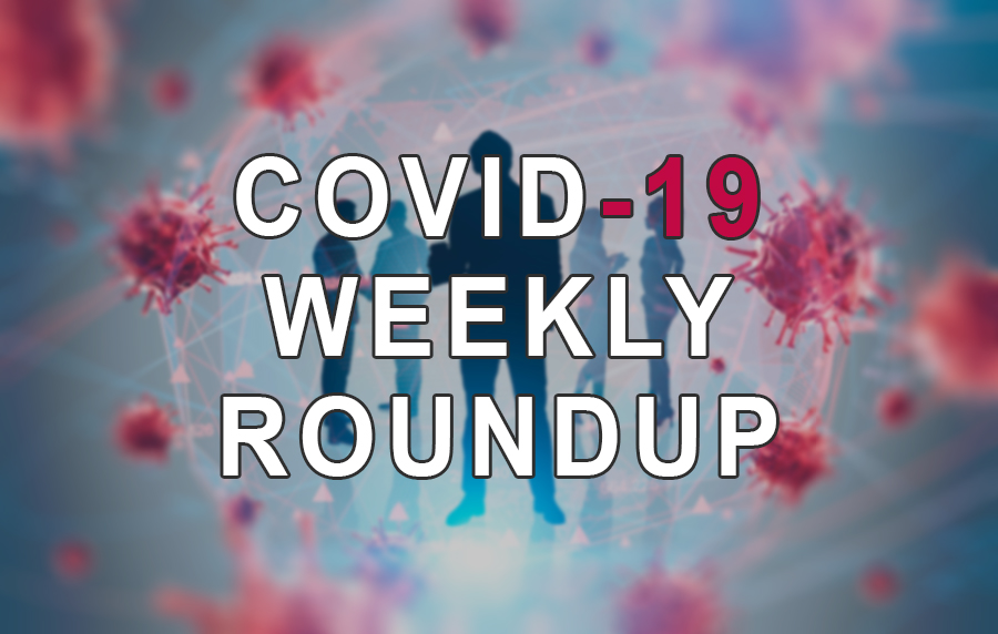 "Coronavirus molecules surrounding silhouettes of people with""COVID-19 Weekly Roundup"" written over top"