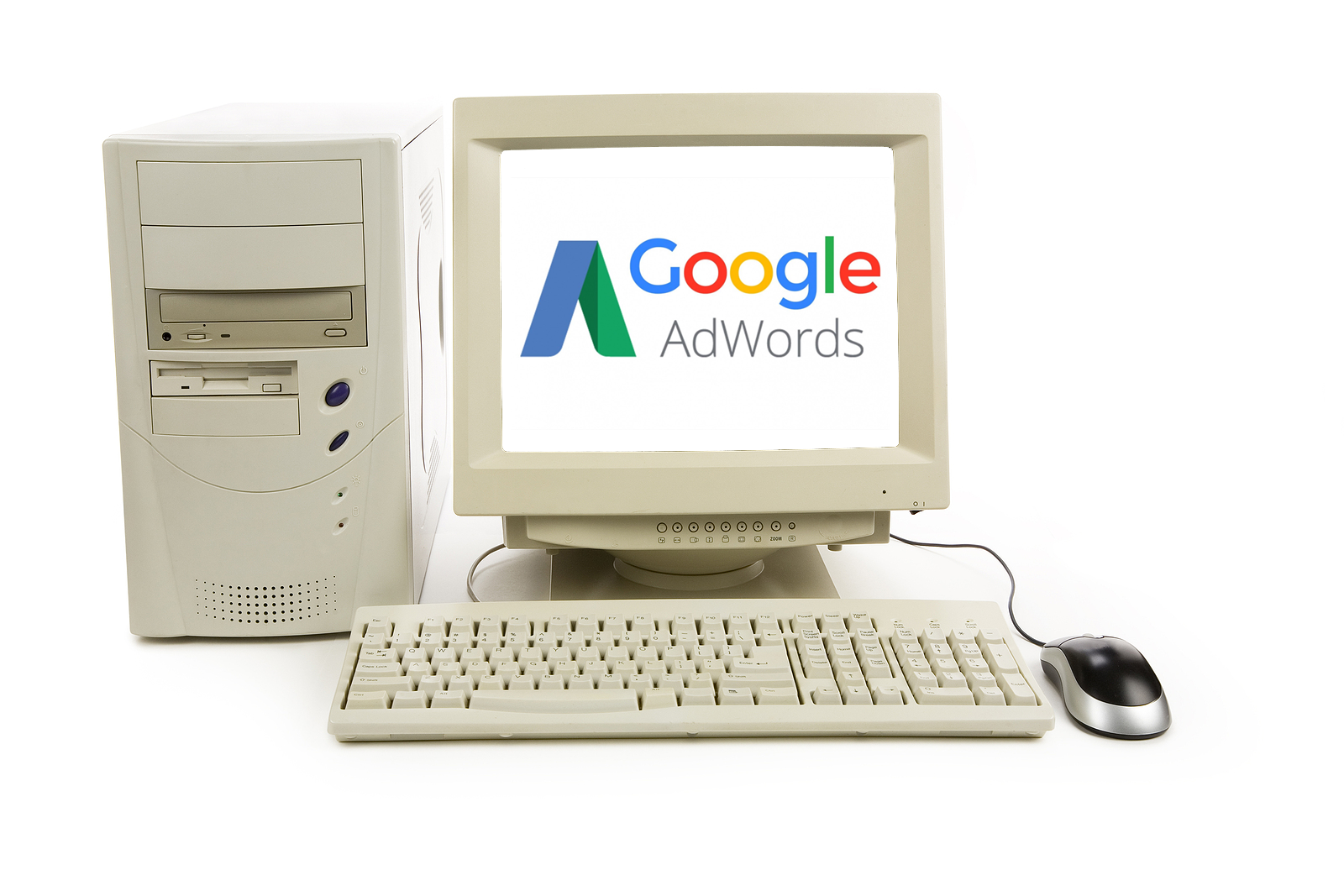 Google AdWords text and logo displayed on old computer.