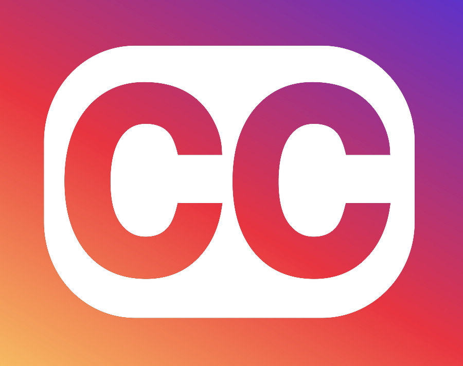 The closed caption logo displayed in Instagram's token color gradient.
