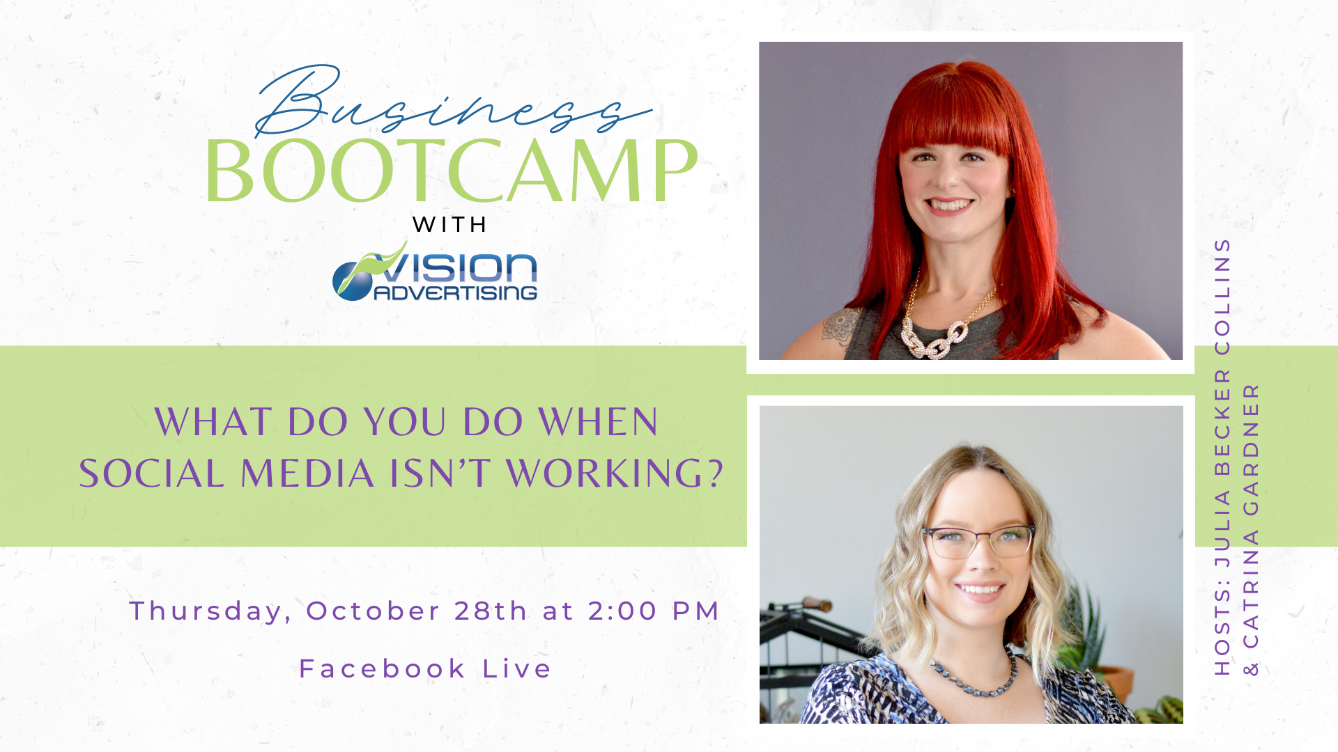 An event image of the Business Bootcamp, ``What Do You Do When Social Media Isn't Working?``